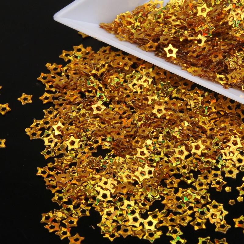 Nail Art Dekorationen Glitter Pulver Shiny Gold Mica Hohl Sternform Maniküre Nägel Schönheit Diy Nail Art Glitter Staub Wy22 NüTzlich FüR äTherisches Medulla Schönheit & Gesundheit