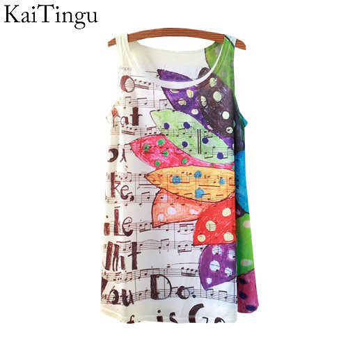 KaiTingu 2016 New Fashion Vintage Spring Summer Women Sleeveless Print Music Notes Printed T Shirt Tee Blouse Vest Tank Tops