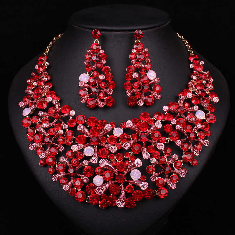 Chinese style designs red crystal rhinestone necklace earrings fashion jewelry sets party prom Design and style fashion jewelry