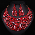 Chinese Style Designs Red Crystal Rhinestone Necklace Earrings Fashion Jewelry Sets Party Prom Wedding Bridesmaid Accessories