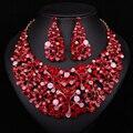 Desenhos de Estilo chinês Vermelho de Cristal Strass Colar Brincos Moda Jóias Define Partido Acessórios do Casamento Da Dama de Honra do baile de Finalistas