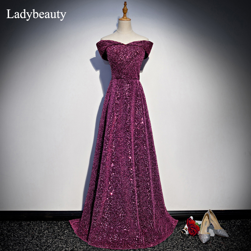 New Arrival Bridal Gown Zipper Back Heavy Sequined Boat Neck Cap Sleeves Long   Evening     Dress   Vestido De Fest Prom Gowns