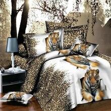 Home Textiles,Leopard Tiger 3D bedding sets 4Pcs of duvet cover bed sheet pillowcase Queen size bedclothes