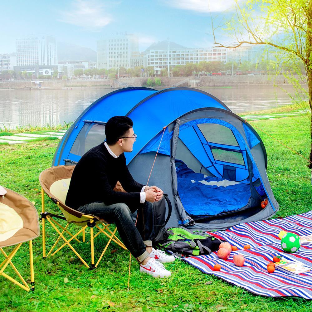 Imperméable à l'eau tente de camping Grand espace 3-4persons automatique vitesse ouvert jeter pop up coupe-vent camping tente familiale