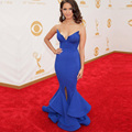 2016 Rocsi Diaz Emmy Awards azul Royal Mermaid Celebrity vestidos longo dividir michael costello