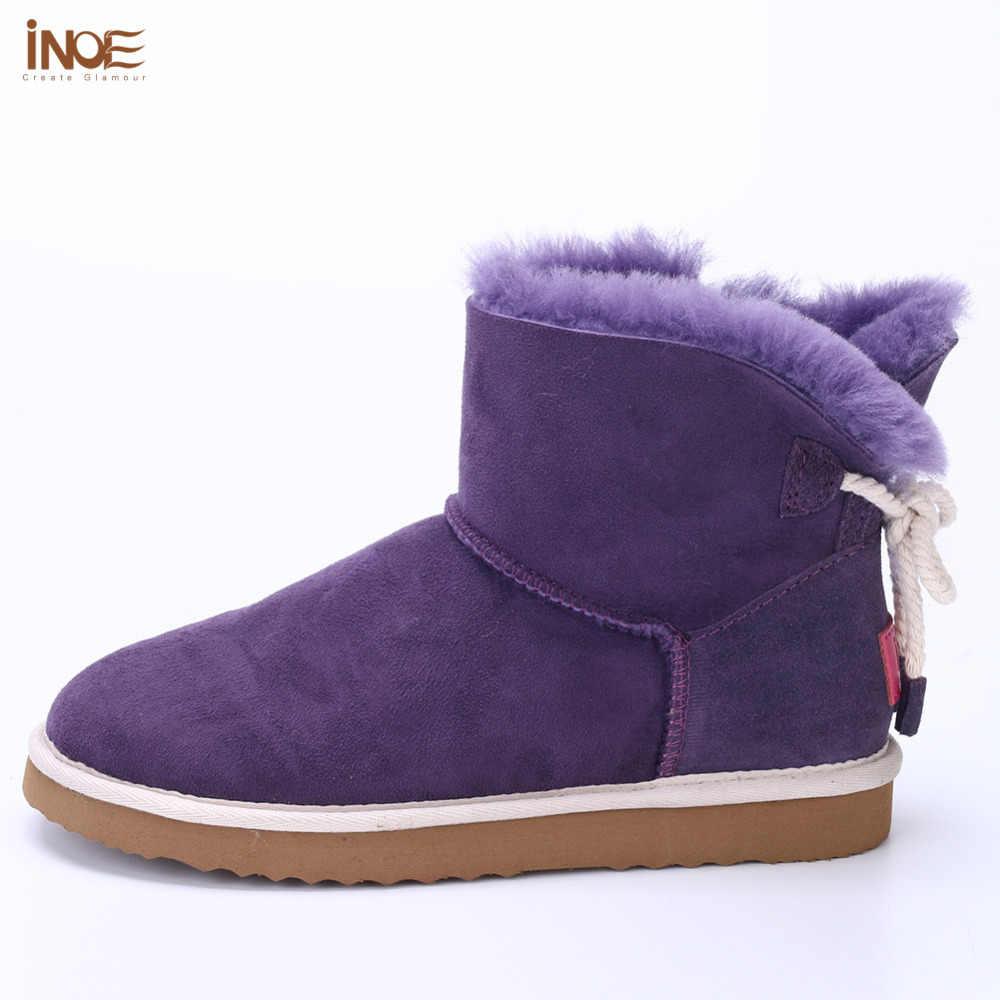 Moda doğa gerçek koyun derisi deri kürk astarlı kızlar kısa ayak bileği kar botları kadın kış ayakkabı daireler lacivert yay düğümlü