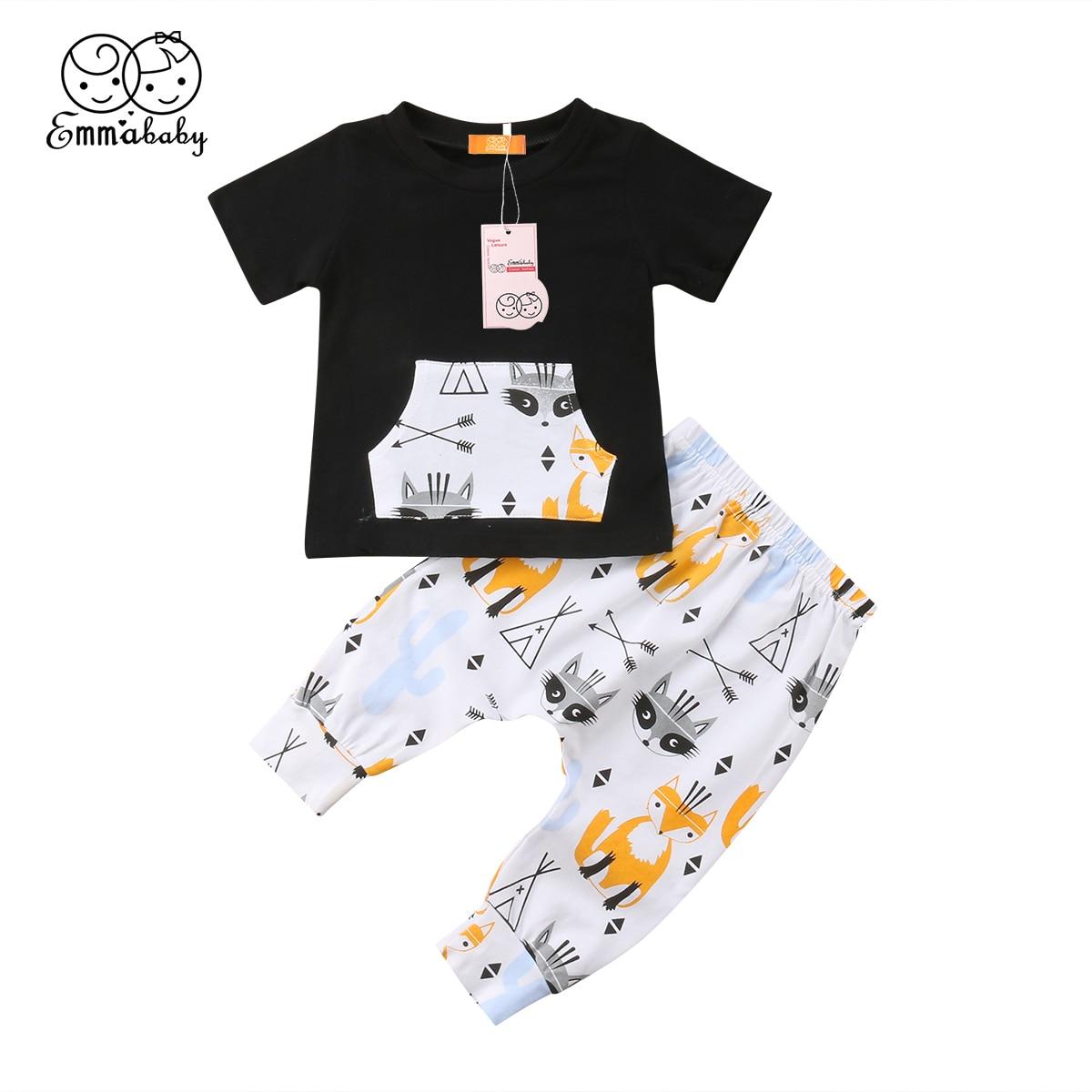 Комплект повседневной одежды из 2 предметов для маленьких мальчиков, футболка с коротким рукавом + штаны с принтом, хлопковые комплекты одеж...
