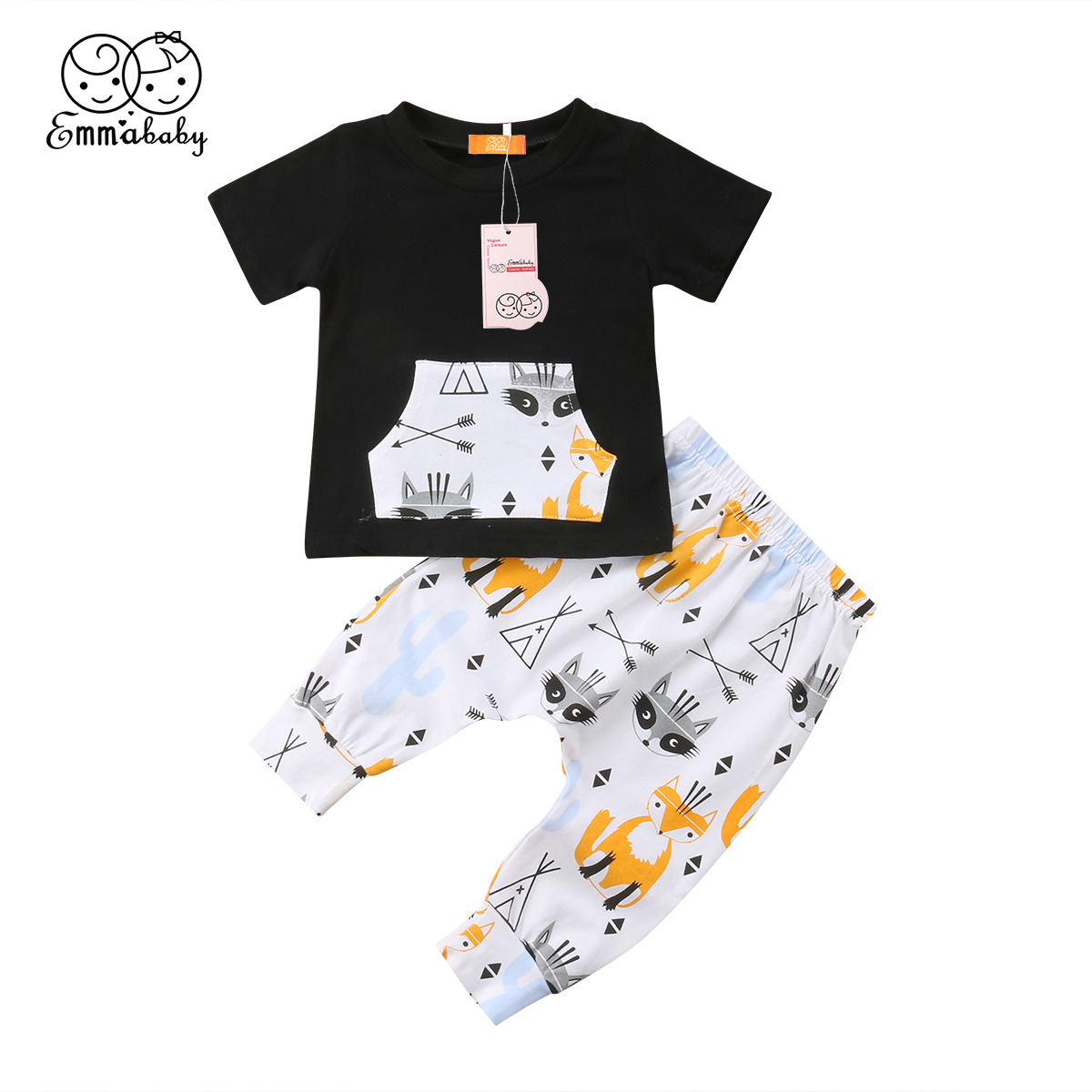 Casual 2PCS Infant Toddler Baby Boy Outfit Clothes Set Shorts Sleeve T-shirts +Printed Pants Cotton Print Clothes Sets