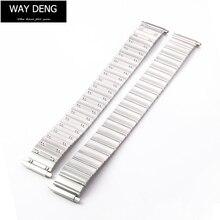 16-22 мм Регулируемые Звенья из матового серебра из нержавеющей стали металлические Ремешки для наручных часов гибкий эластичный ремешок для часов браслет-Y182