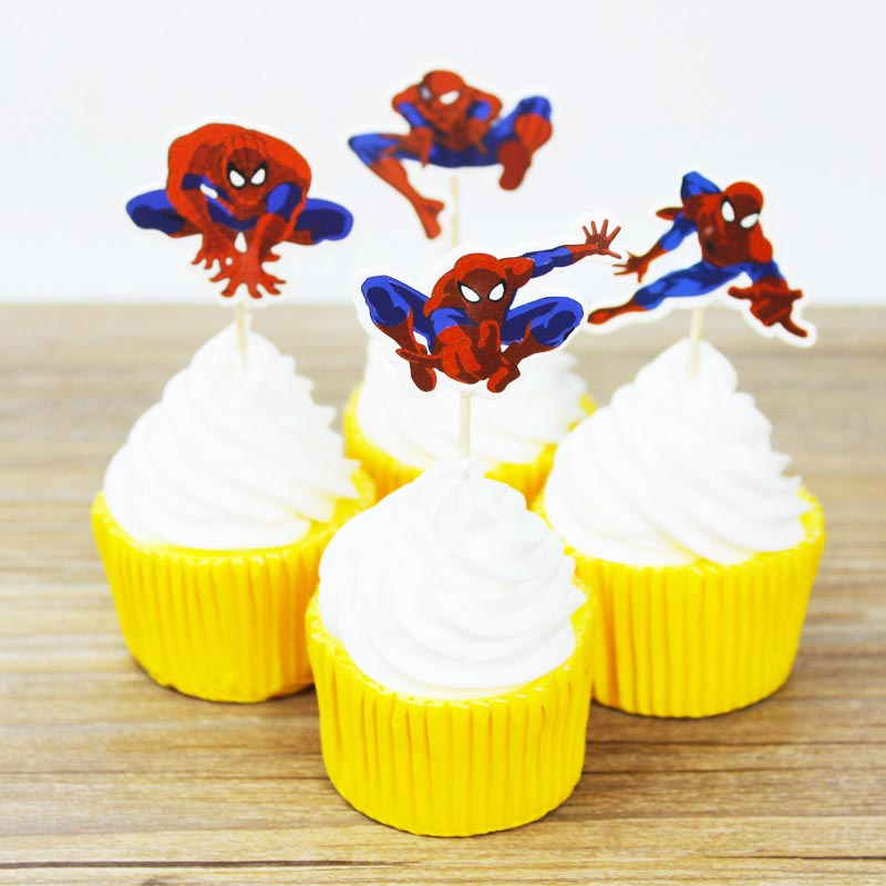 Outstanding 24Pcs Set Spiderman Cake Topper Pick Toppers Party Supplies Funny Birthday Cards Online Unhofree Goldxyz