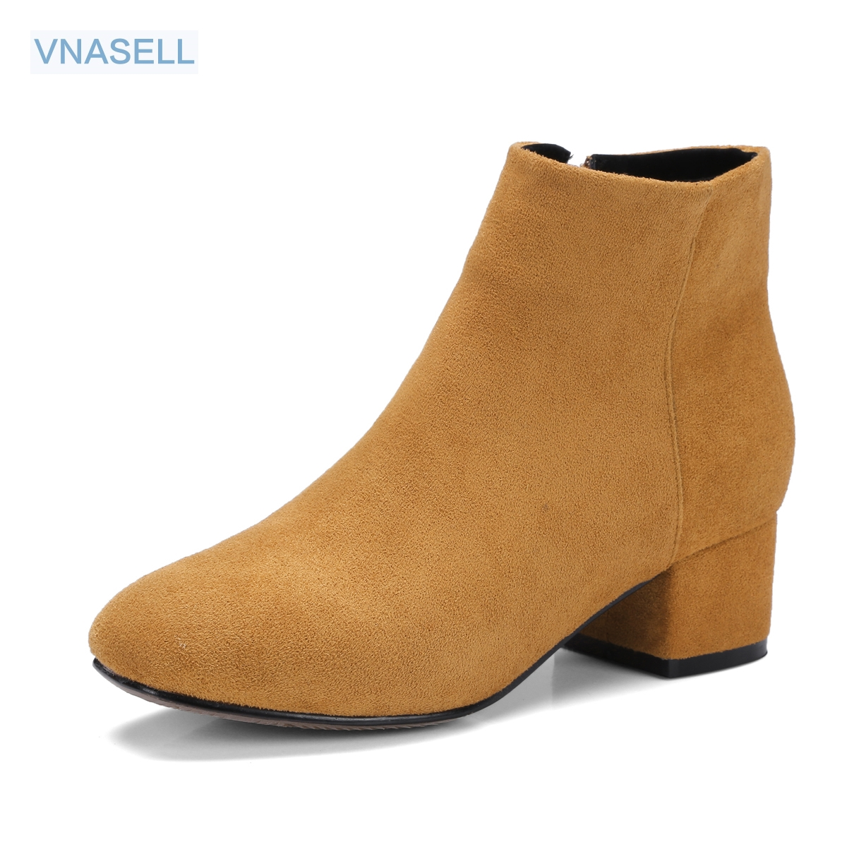 Vnasell Fashion genuine leather ankle boots, round toe, square heel, solid color, Short Plush, 7 colors size 34 -41 42 43 high quality full grain leather solid boots size 40 41 42 43 44 zipper design round toe square heel boots