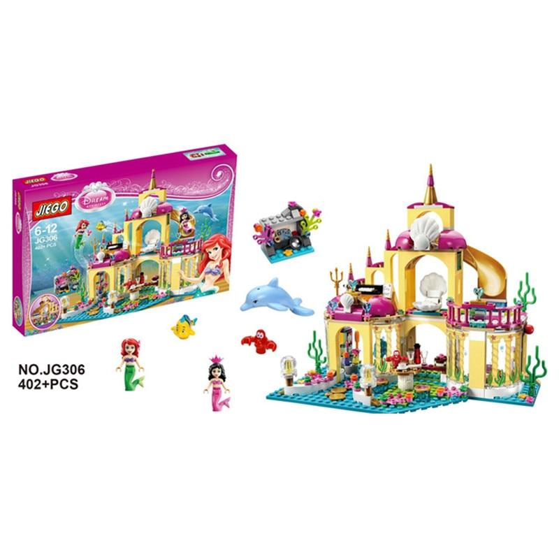 SY374 JG306 400Pcs Princess Undersea Palace Model Building Kits Minifigures Blocks Bricks Girl Toy Gift Compatible