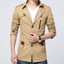 2016 neue Ankunft Marke Kleidung Herrenmode Casual Frühling Herbst Jacke Baumwolle drehen-unten Kragen Mantel Plus Größe männer Windjacke