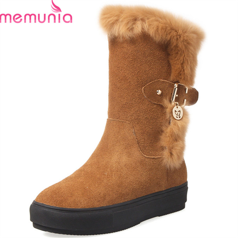 MEMUNIA 2018 new arrival cow suede ankle boots for women round toe warm winter snow boots comfortable platform flat shoes MEMUNIA 2018 new arrival cow suede ankle boots for women round toe warm winter snow boots comfortable platform flat shoes