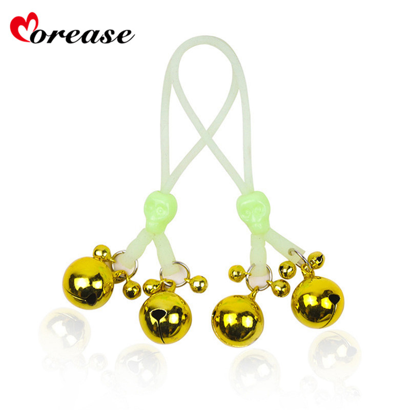 Morease Luminous Nipple Clamps Rope Clip Bell Flirting Toys Sexy Adult Games Restraint Slave Fetish Sex
