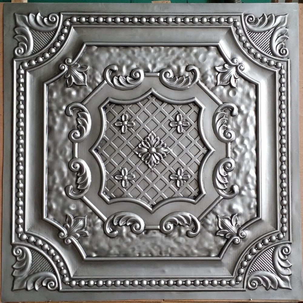 Pl04 Faux Finished Artistic Antique Silver Ceiling Tiles