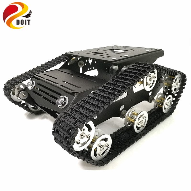 DOIT Metal Robot Tank Chassis Tracked Tank Model Y100 with Solid Structure Aluminium Alloy Frame for DIY Robot Graduation Design diy tracked robot frame model 7 dof abb manipulator tk3a tracked chassis with motor servo control board and xd 229 auno r3