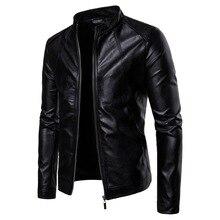 дешево!  Мужская Байкерская Мото Куртка Стенд Воротник Мотоцикл Искусственной Кожи Вскользь Куртки Мода Муж�