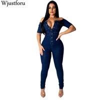 Wjustforu New Fashion Denim Jumpsuit Women Wide Leg Spaghetti Strap Bodycon Jumpsuit Bandage Rompers Womens Jumpsuit Slim Female