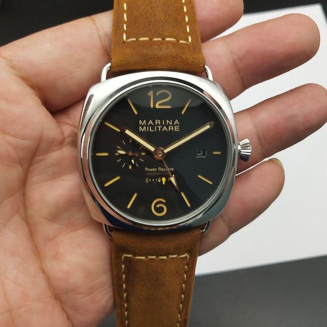 60c6c6a3ccb Reserva de energia parnis pam 47mm militar relógio automático prata caixa  preta mostrador preto preto
