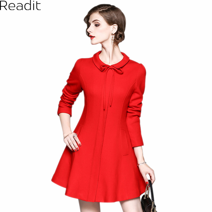 Readit A-Line Dress 2017 Autumn Winter Women's Temperament Dress Pure Color Turn-down Collar Lace-up Dress D2551 readit kitting dress 2017 autumn winter warm vestidos white faux pearl beading collar chest black knitted dress female d2548
