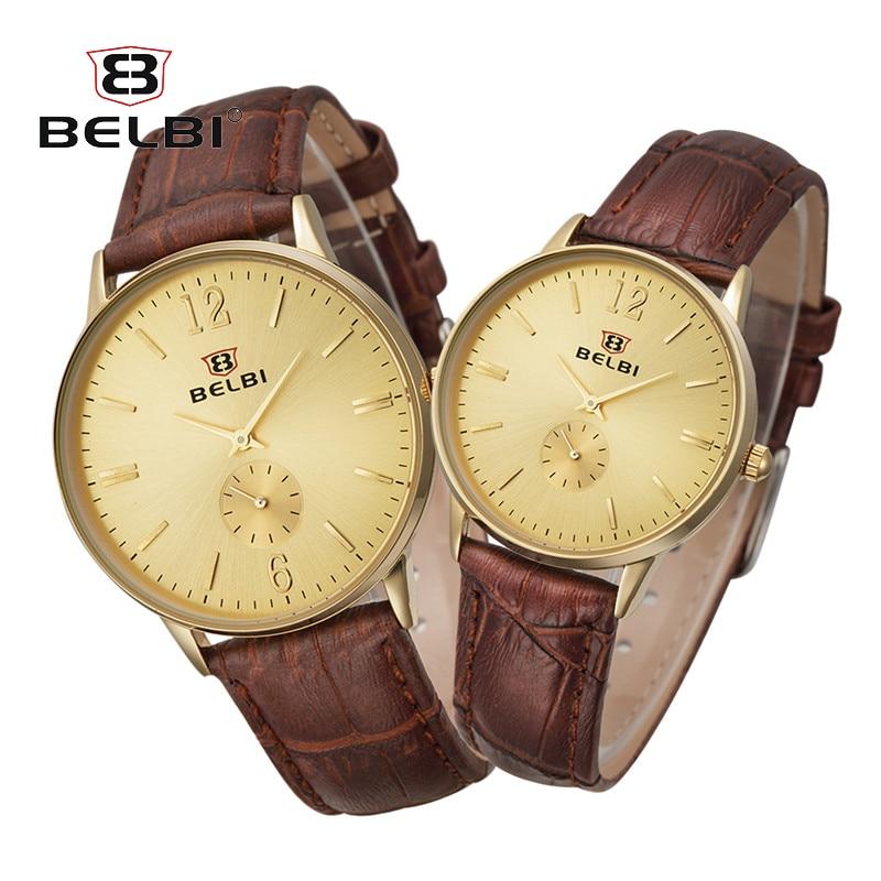 купить BELBI Women Dress Watches Luxury Lovers Couple Watches Men Waterproof Women Leather strap Quartz Wristwatch Montre Homme онлайн