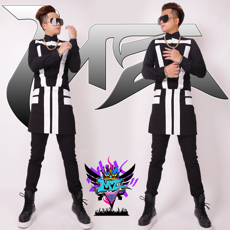 S 4XL ! 2018 Men fashion new singer DJ club exobiology spell slim shirt black and white apron trousers costumes formal dress