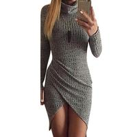 Women Knitted Dresses 2017 Elegant Gray Long Sleeved Women Party Bodycon Dress Spring Short Pencil Casual