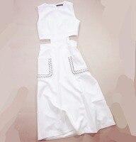 Frauen mädchen ausschnitt taille sexy kleid neuheit sleeveless patchwork PU taschen kleider weiß