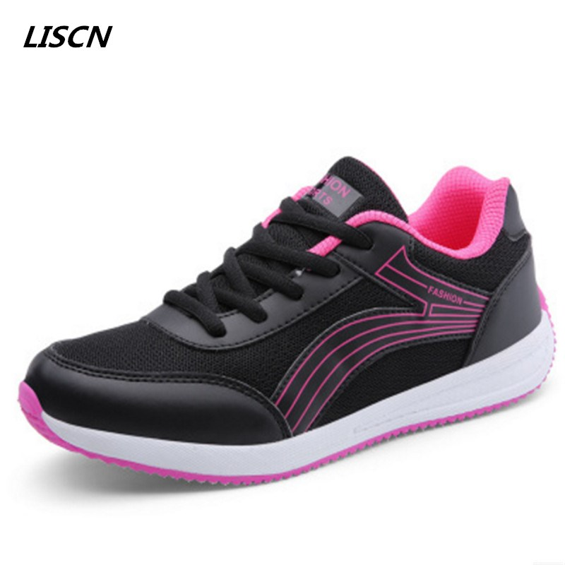 2018 Summer Women Sneakers Fashion Lace-up Walking Shoes Breathable Tenis Feminino Casual Shoes Flat Mesh Shoes Basket Femme