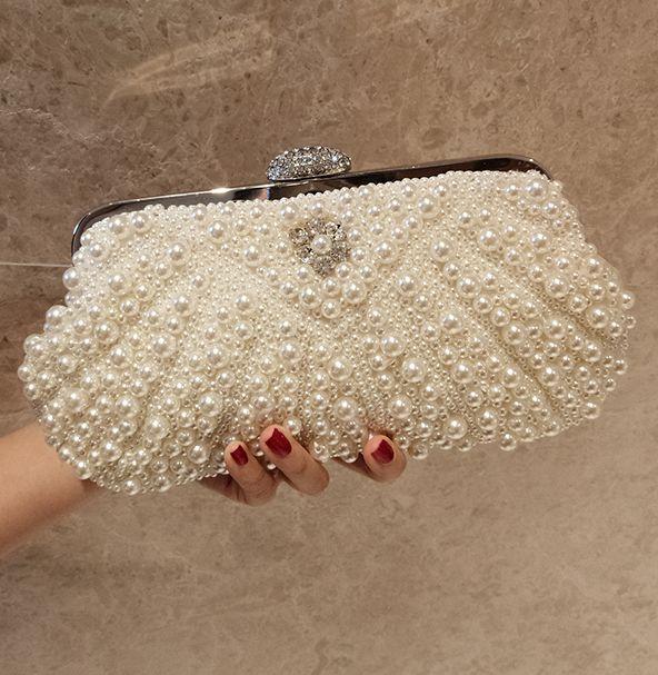 Nouveauté blanc ivoire perles de mariage de mariée embrayages sacs top poignée B309 de luxe qualité supérieure à la main chaîne sacs à bandoulière