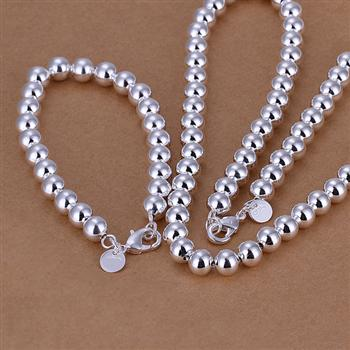 Both men and women can wear the 8MM beads two-piece spherical simple silver suit ...
