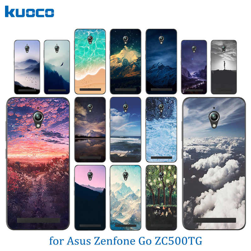 Ponsel Case Silikon Yang Lembut untuk Asus Zenfone Go ZC500TG Penutup Belakang Gel Pola Landscape untuk Coque ASUS ZC ZC500 500 500TG TG Funda