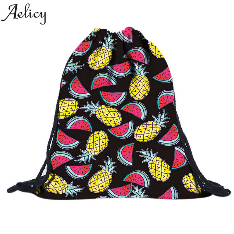 Aelicy Luxury Cartoon Drawstring Bag for Women Backpack Small Harajuku Drawstring Backpack for School Girls Storage Bag Softback tangimp drawstring backpacks embroidery dear my universe cherry rocket printing canvas softback man women harajuku bags 2018