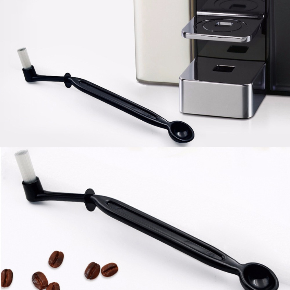 2 in 1 Coffee Machine Grouphead Cleaning Brush Spoon Angled Detergent Scoop Household Coffee Clean Tools New F20