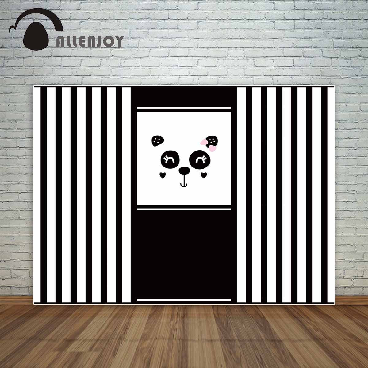 Allenjoy Cute Panda Backdrop Black And White Stripes Birthday Decorations For Home Background Vinyl