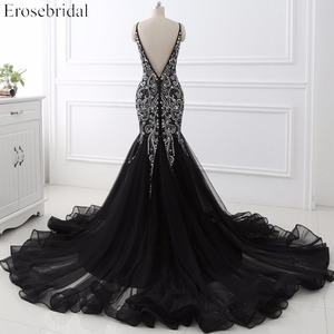 Image 4 - Sexy Mermaid crystal Sequined Evening Dress Deep Backless V Neck Sleeveless  Open Back Court Train Formal Party Dress YY0011