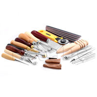 25Pcs Leather Craft Punch Tools Kit Stitching Carving Working Sewing Saddle Groover