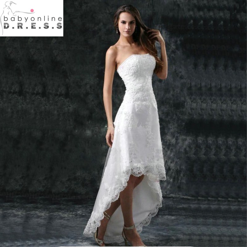 Vestidos De Noiva Curto Sexy Strapless High Low Lace White Short Front Long Back Wedding Dresses