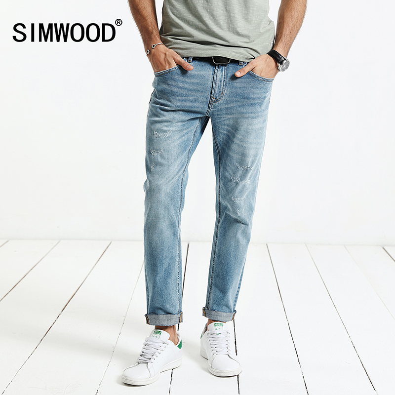 SIMWOOD 2017 Autumn Jeans Men Ripped  Scratched Denim Trousers Slim Fit Plus Size NC017003 hee grand summer glitter gladiator sandals 2017 casual wedges bling platform shoes woman sexy high heels beach creepers xwx5813