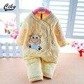 2015 bebê Recém-nascido definir a Roupa Do Bebê Set Algodão Outono/Pijamas De Inverno De Espessura Bebê Urso Dos Desenhos Animados do Menino/Menina Longo Roupa Interior de manga comprida