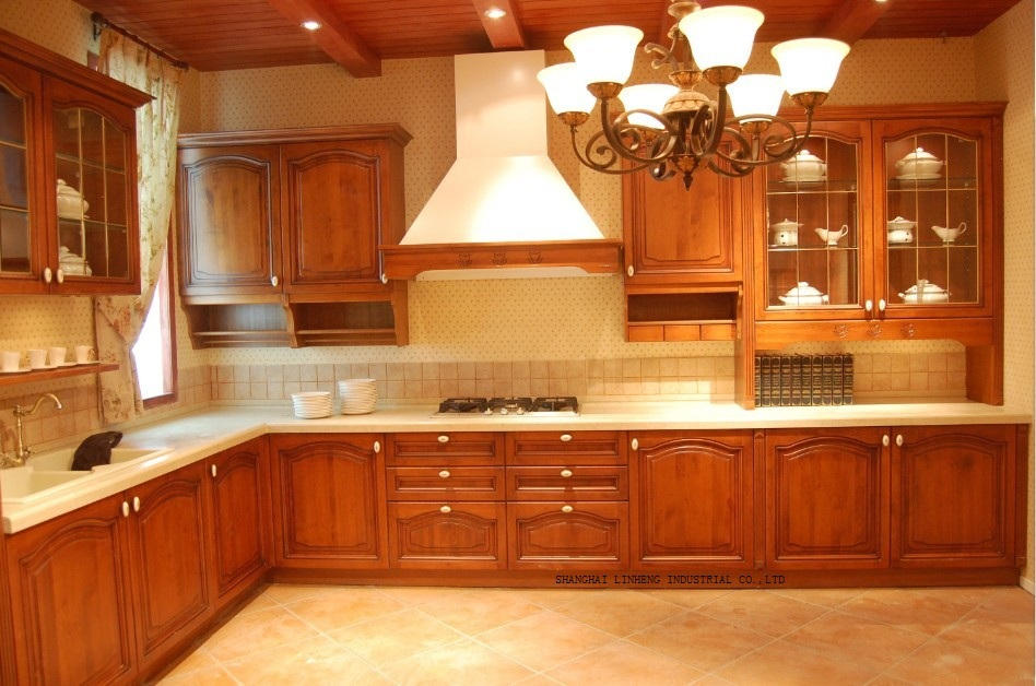 Mould cherry solid wood kitchen cabinet lh sw057 on for Cherry wood kitchen cabinets price