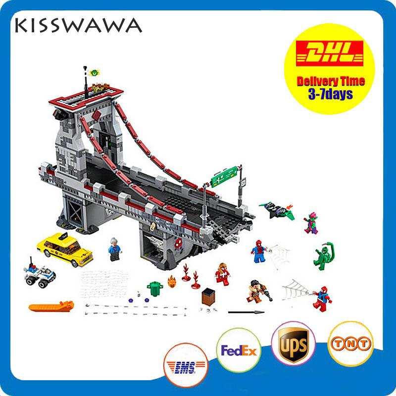 ФОТО KISSWAWA 07038 1165pcs Movie The Avengers Of Super Heros Final Wars On Bridge  Building Block Bricks Toy