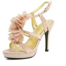 Высокий каблук свадебная обувь кружева цветок свадебные туфли сандалии выпускного вечера вечернее ну вечеринку платье леди Bridals формальные платья обувь