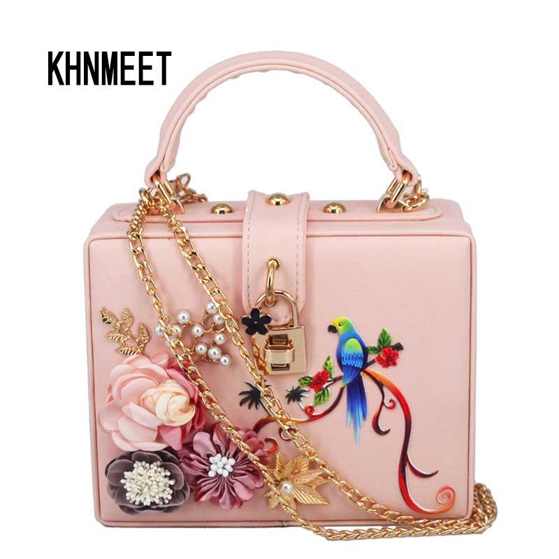Fashion Box Shape Pink Pu Colorful Bird Chain Women Handbags Flower Flap Bag Ladies Messenger Bag