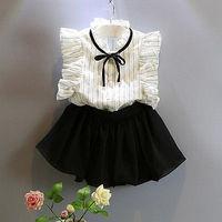 2ピースファッション幼児キッズ女の赤ちゃん服エレガントホワイトノースリーブストライプ弓ブラウストップス+白ショーツスカート服セット2-7y