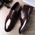 Llanura Solid Para Hombre Zapatos Zapatos de Boda de Cuero de Grano Completo Italiano Mens Oxfords Zapatos de Vestir Del Padrino de Charol Ascensor