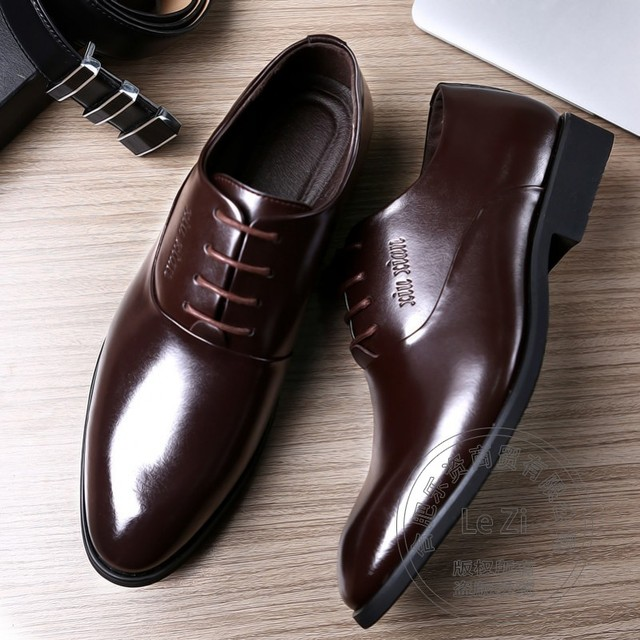 Plain Full Grain Leather Solid Mens Shoes  Wedding Shoes  Italian Mens Oxfords  Dress Shoes Groomsman Elevator Patent Leather