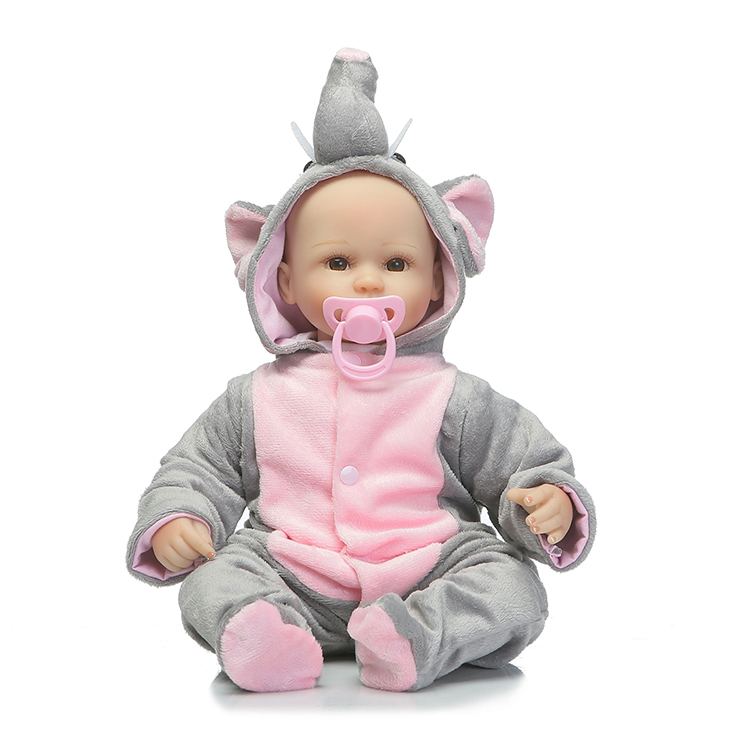 ФОТО 42cm Real cute reborn babies dolls with elephant clothing cotton body silicone babdy dolls for child bebe gift bonecas