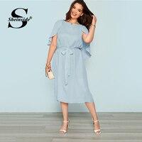 Sheinside Plus Size Elegant Flutter Sleeve Blue Dress Women 2019 Summer Casual Belted Straight Dresses Ladies Solid Midi Dress